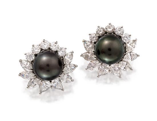 Pair of platinum, Tahitian pearl and diamond earrings, Tiffany & Co.