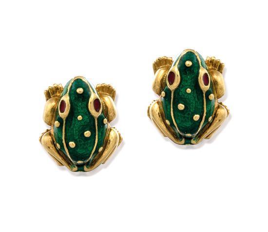 Pair of 18ct gold and enamel earrings, David Webb