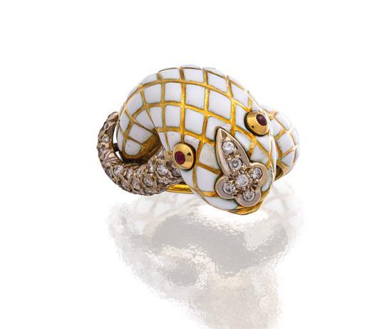 18ct gold, enamel, diamond and ruby ''Kingdom Collection Snake'' ring, David Webb
