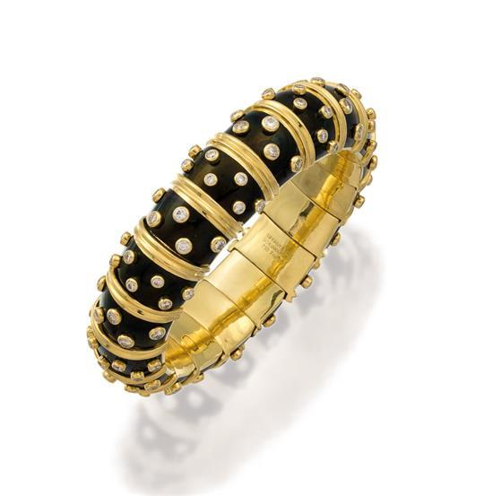18ct gold, diamond and enamel bracelet, Jean Schlumberger for Tiffany & Co.
