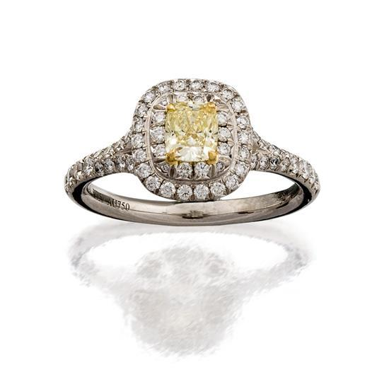 Platinum, 18ct gold, fancy yellow diamond and diamond ring, Tiffany & Co.