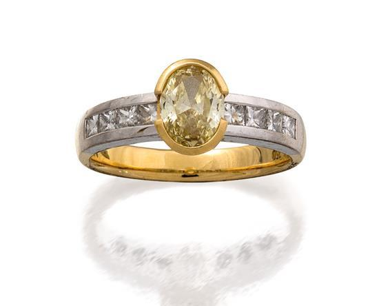 18ct bi-colour gold, fancy yellow diamond and diamond ring