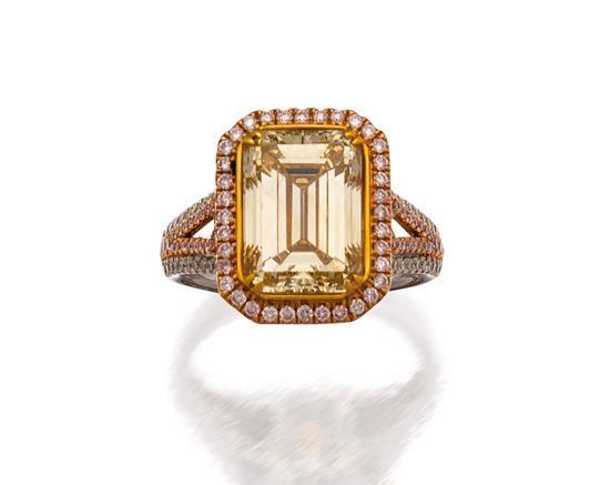 18ct white gold, fancy brownish yellow diamond, Argyle pink diamond and diamond ring