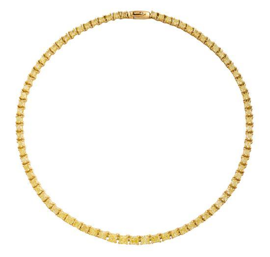 18ct gold and fancy intense yellow diamond necklace