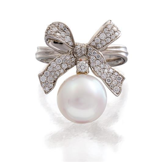 Platinum, south sea pearl and diamond ''Ribbon Bow'' ring, Paspaley