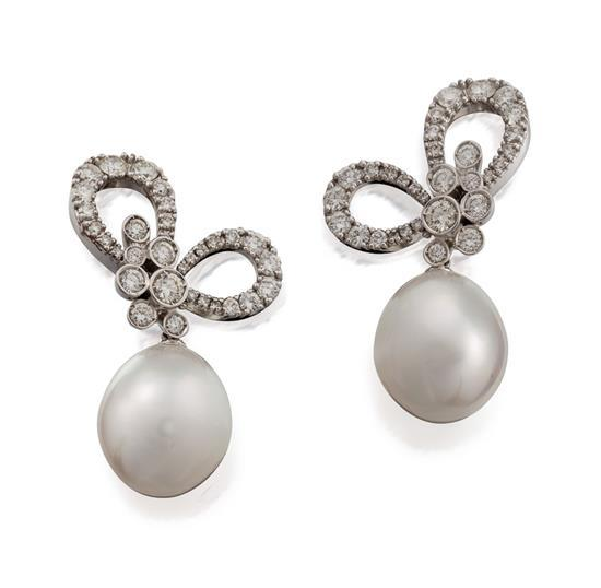 Pair of 18ct white gold, south sea pearl and diamond ''Eden'' pendant earrings, Stefan Hafner for Paspaley