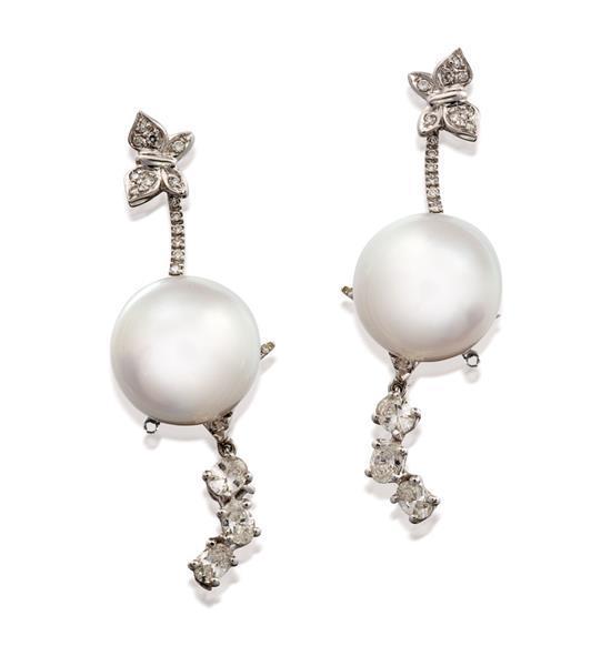 Pair of 18ct white gold, south sea pearl and diamond ''Eden'' pendant earrings, Stefan Hafner for Paspaley