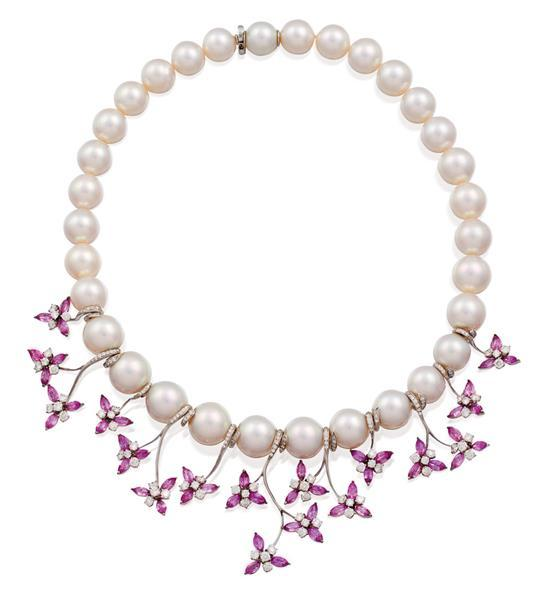18ct white gold, south sea pearl, pink sapphire and diamond necklace, Paspaley