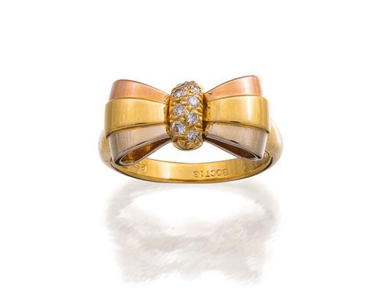 18ct tri-colour gold and diamond ring, Van Cleef & Arpels