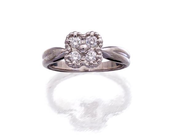 18ct white gold and diamond ''Vintage Alhambra'' ring, Van Cleef & Arpels