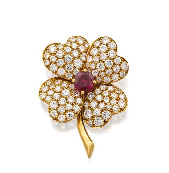 18ct gold, ruby and diamond ''Cosmos'' brooch, Van Cleef & Arpels