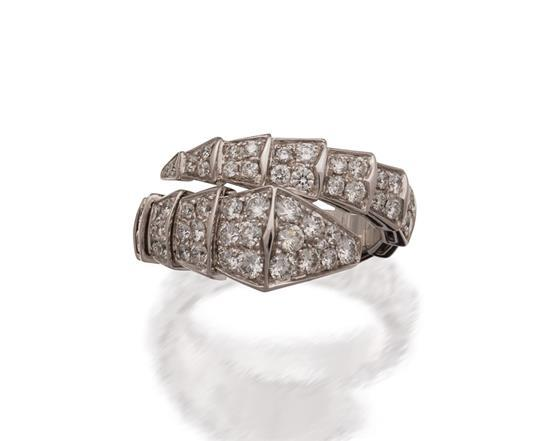 18ct white gold and diamond ''Serpenti'' ring, Bulgari