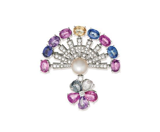 18ct white gold, diamond, pearl and multi-coloured sapphire brooch, Bulgari
