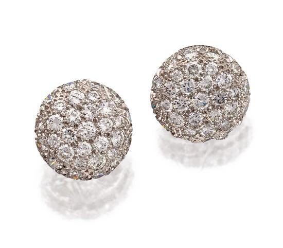 Pair of platinum and diamond earrings, Harry Winston