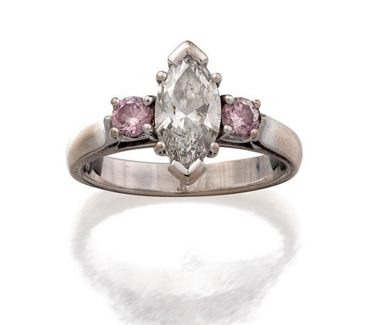 18ct white gold, diamond and Argyle fancy pink diamond ring