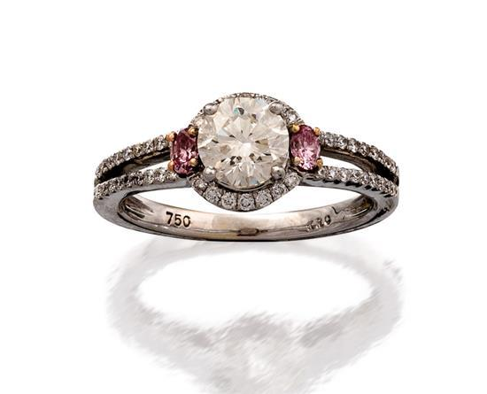 18ct white gold, diamond and Argyle fancy pink diamond ring