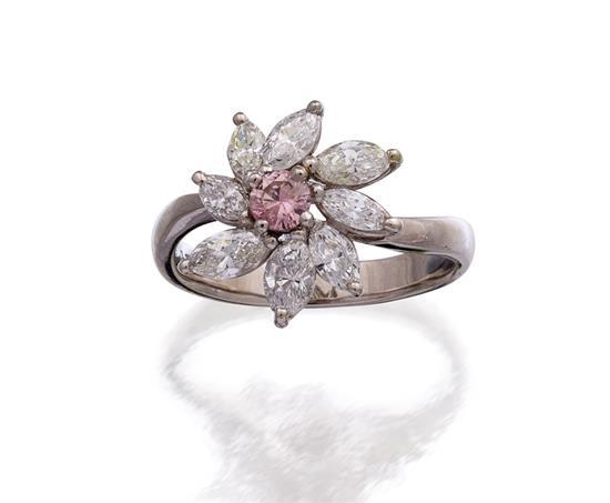 Platinum, fancy pink diamond and diamond ring