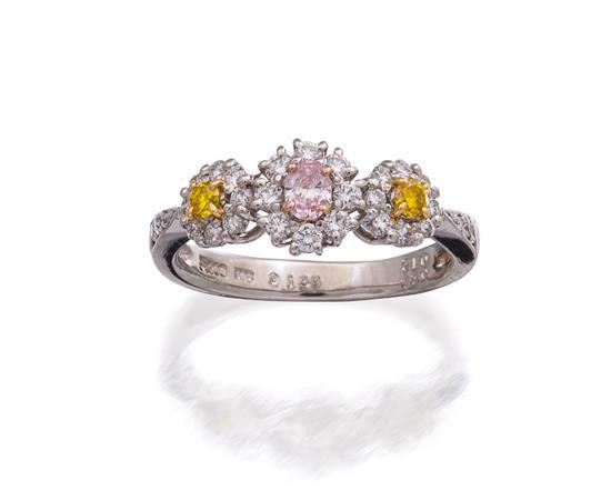 Platinum, 18ct white gold, coloured diamond and diamond ring