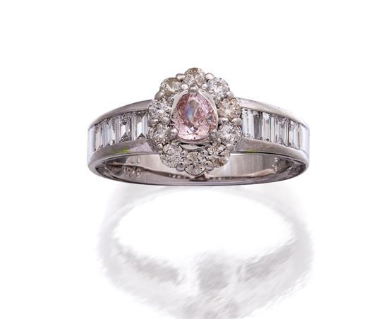 18ct white gold, fancy pink diamond and diamond ring