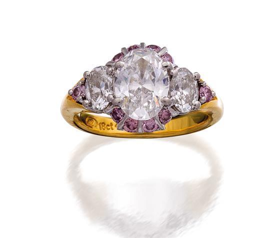 18ct gold, diamond and Argyle fancy pink diamond ring, Giulians