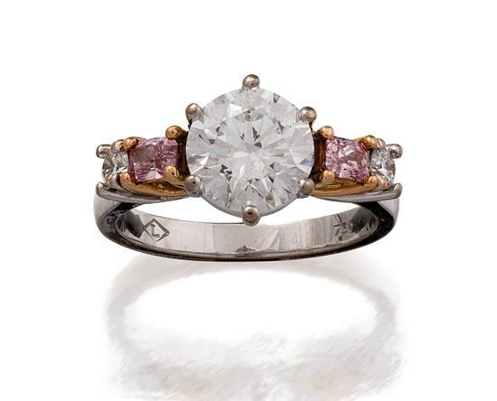 18ct gold, diamond and Argyle fancy pink diamond ring, Linneys