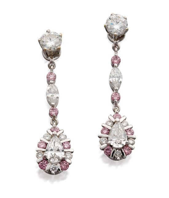 Pair of 18ct white gold, diamond and fancy pink diamond pendant earrings