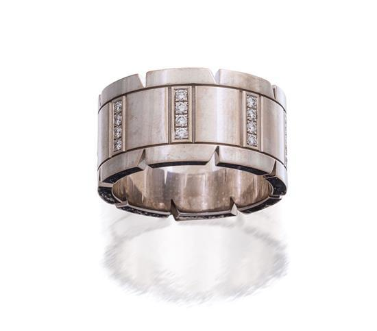 18ct white gold and diamond ''Tank Française'' ring, Cartier
