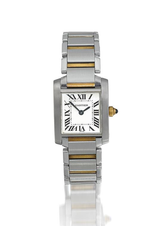 Cartier A lady''s stainless steel and gold square wristwatch with bracelet ref 2384 case CC803944 Tank Française circa 2000