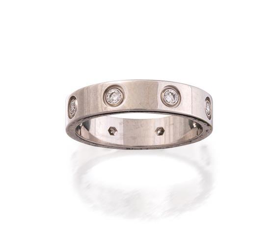 18ct white gold and diamond ''Love'' ring, Cartier
