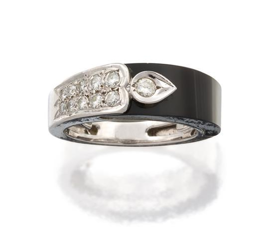18ct white gold, onyx and diamond ring, Cartier
