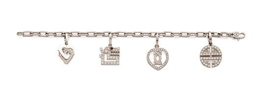 18ct white gold and diamond charm bracelet, Cartier