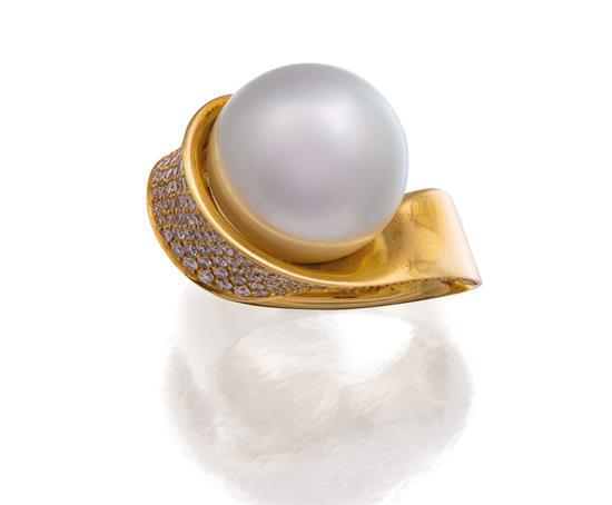 18ct gold, south sea pearl and diamond ring, Giorgio Visconti for Paspaley