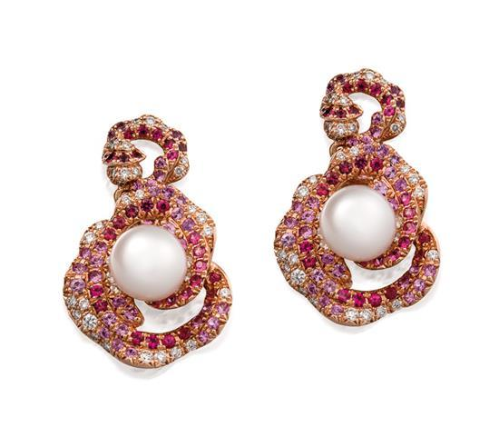 Pair of 18ct rose gold, south sea pearl, gemstone and diamond ''Palais'' pendant earrings, Paspaley