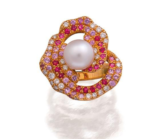 18ct rose gold, south sea pearl, gemstone and diamond ''Palais'' ring, Paspaley