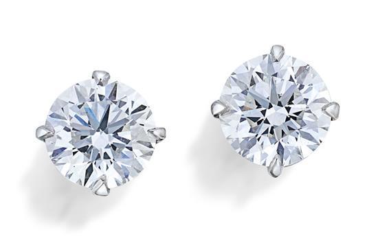 Pair of 18ct white gold and diamond studs