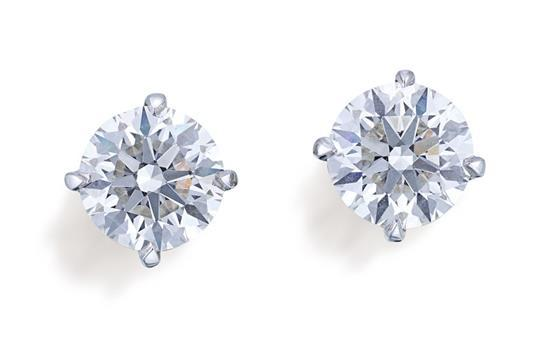 Pair of 18ct white gold and diamond studs