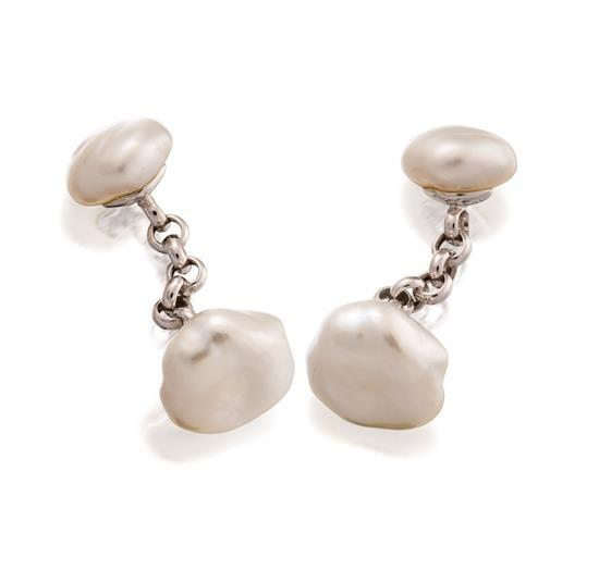 Pair of 18ct white gold and pearl cufflinks, Paspaley