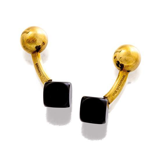Pair of 18ct gold and onyx cufflinks, Tiffany & Co.
