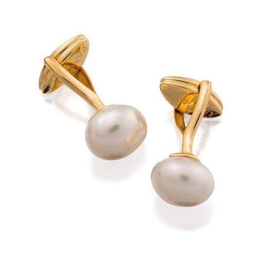 Pair of 18ct gold and pearl cufflinks, Paspaley