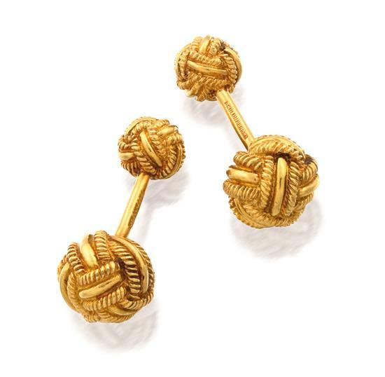 Pair of 18ct gold ''Woven Knot'' cufflinks, Jean Schlumberger for Tiffany & Co.