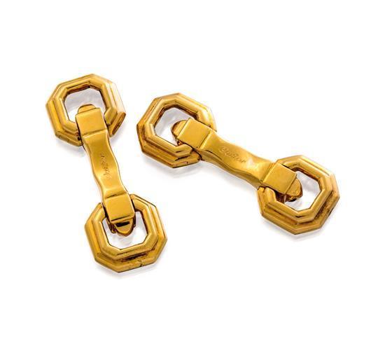 Pair of 18ct gold cufflinks, Cartier
