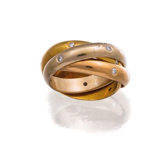 18ct tri-colour gold and diamond ''Trinity'' ring, Cartier, circa 1999