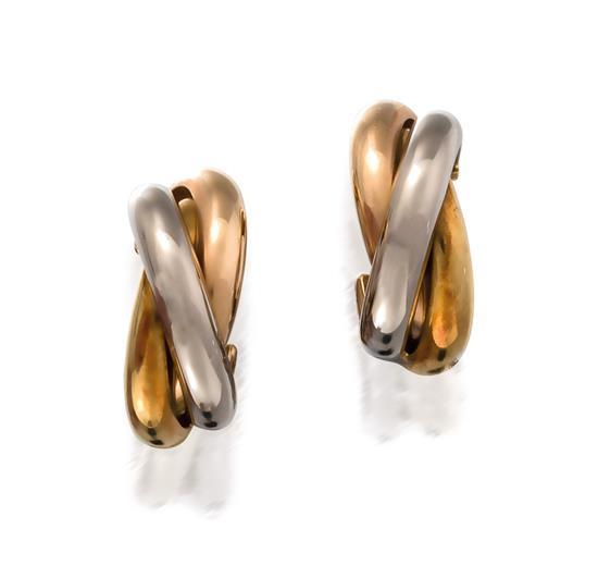 Pair of 18ct tri-colour gold ''Trinity'' earrings, Cartier