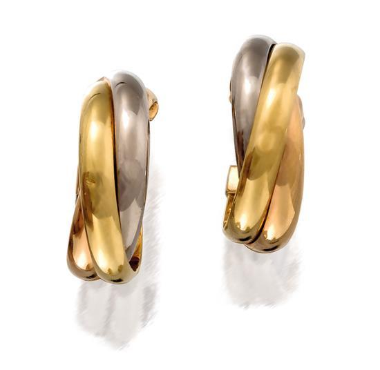 Pair of 18ct tri-colour gold ''Trinity'' earrings, Cartier, circa 1997