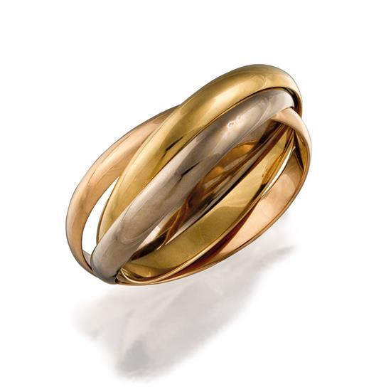 18ct tri-colour gold ''Trinity'' bangle, Cartier