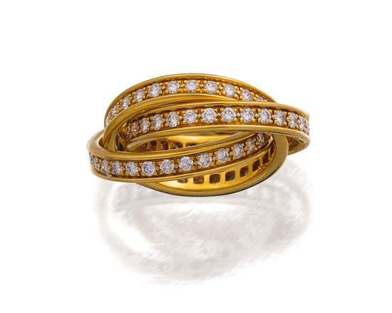 18ct gold and diamond ''Trinity'' ring, Cartier