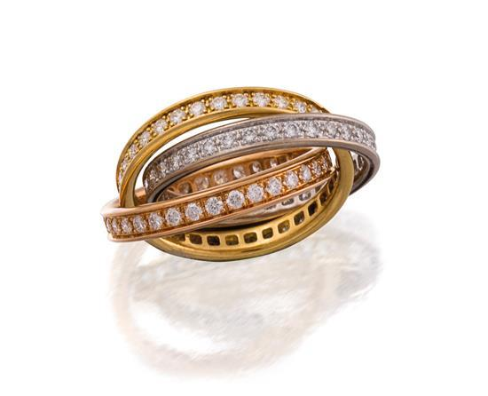 18ct tri-colour gold and diamond ''Trinity'' ring, Cartier