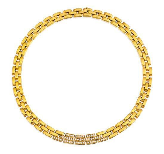 18ct gold and diamond ''Panthère Maillon'' necklace, Cartier