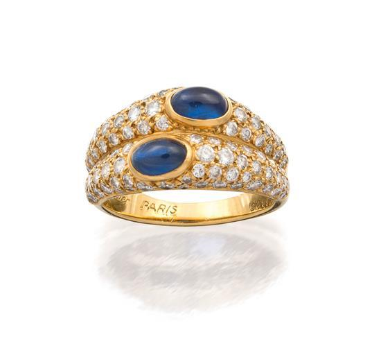 18ct gold, sapphire and diamond ring, Cartier