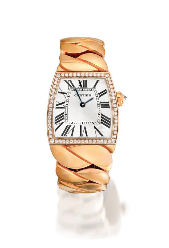 Cartier A fine lady''s 18ct pink gold and diamond-set trapezoid bracelet watch case 86182LX 2896 La Dona circa 2007